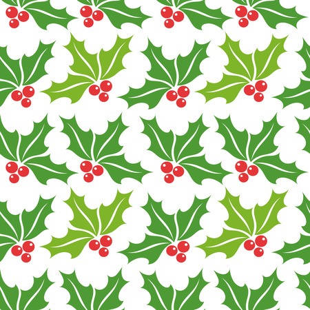 holly berry: Christmas holly berry seamless pattern. Vector illustration