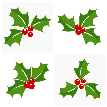 holly berry: Christmas holly berry icon collection. Vector illustration