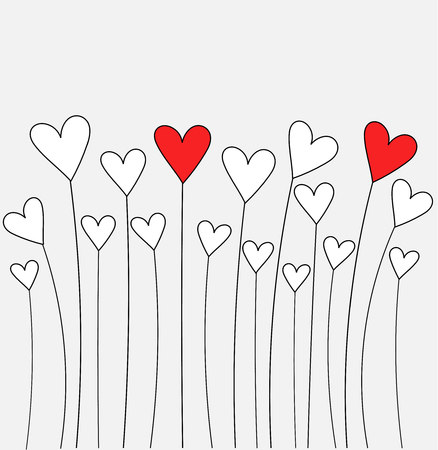 Cute hearts growing. Valentines day card - vector illustration