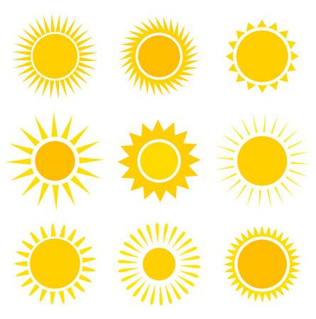 太陽のアイコンのコレクション。ベクトル イラスト