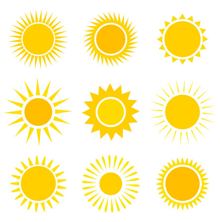 sol: Sun iconos colección. Ilustración vectorial