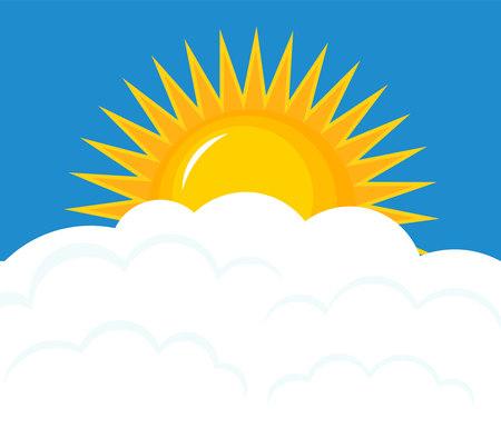 the rising sun: Sol sobre las nubes. Ilustración vectorial Cielo