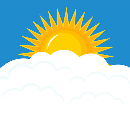 Sun rising over clouds. Sky vector illustration 向量圖像