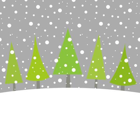 Christmas trees in winter landscape. Vector illustration Vector