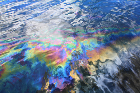 Oil spill from USS Arizona battleship in Pearl Harbor photo