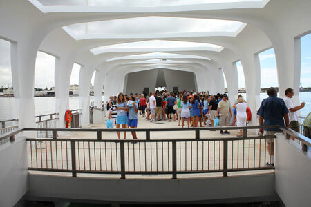 PEARL HARBOR, OAHU, HAWAII - SEPTEMBER 20  People visit USS Arizona Memorial on September 20, 2012 in Pearl Harbor, USA  The USS Arizona Memorial marks the resting place of 1,102 sailors and Marines killed during the attack on Pearl Harbor by Japanese for