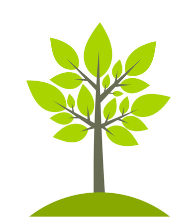Tree on green hill icon.  Vector