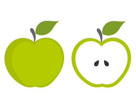 녹색 사과 - 전체 및 잘라 내기 과일.