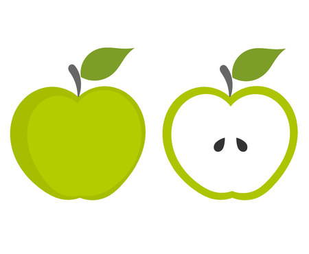 clip arts: Green apple - whole and cut fruit.
