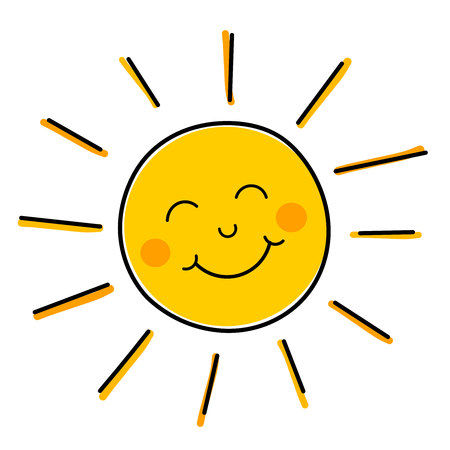 luz solar: Desenho de sol de sorriso feliz.