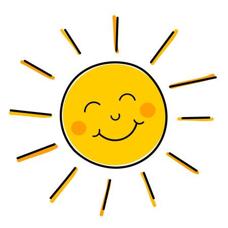 Tekening van gelukkig lachende zon. Stock Illustratie