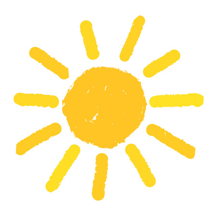 손으로 태양을 그렸습니다. 일러스트