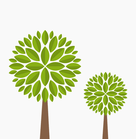 Two family trees. Vector illustration on white background Vector