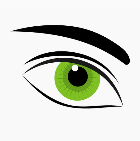 brows: Woman green eye icon isolated. Vector illustration Illustration