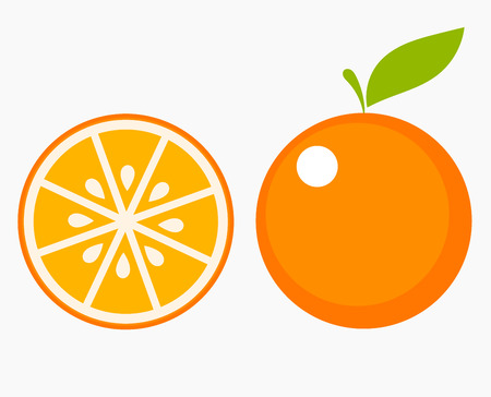 flat leaf: Orange fruit with leaf and slice. Vector illustration