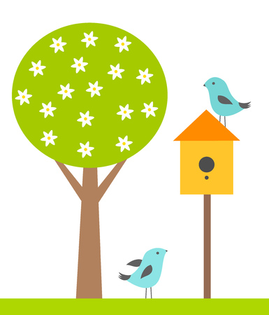 Birds and breeding shed. Spring vector illustration Vector