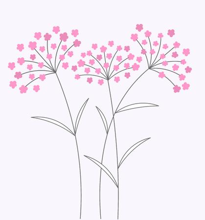 long stem: Pink flowers on long stems. Vector illustration