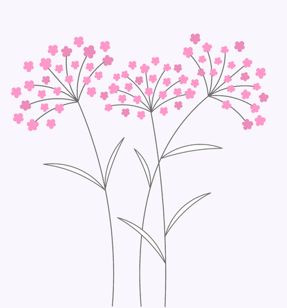 Pink flowers on long stems. Vector illustration