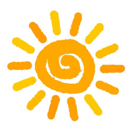 Geïsoleerde zon geschilderd. Vector illustratie Stock Illustratie