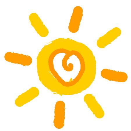 Sun with heart inside. Vector illustration