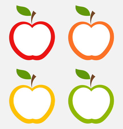fruit clipart: Apple labels in various colors. Vector illustration