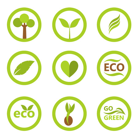 plant seed: Set of eco icons and symbols with leaves and plants.  Illustration