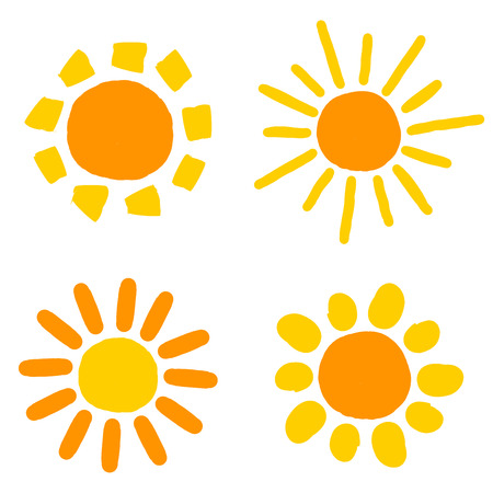 Painted doodle sun icons.  Illustration