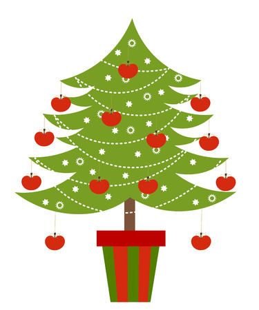 Christmas tree with apples decoration.