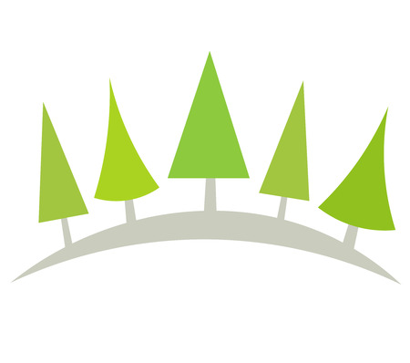 Symbolic Christmas trees arc.  Vector