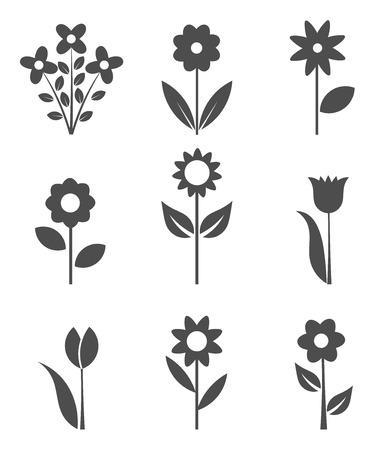 jardines con flores: Conjunto de iconos de flores.