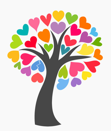 Tree with colorful leaf hearts.  Illustration