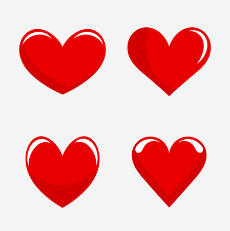 Red hearts.  Vector