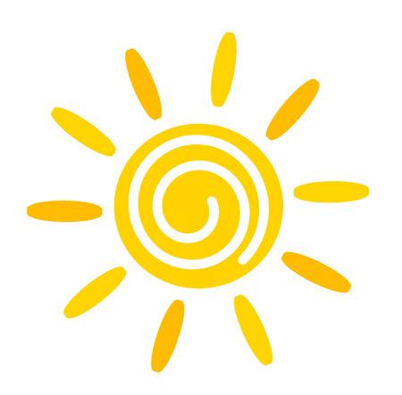 sol caricatura: Icono amarillo Sun.