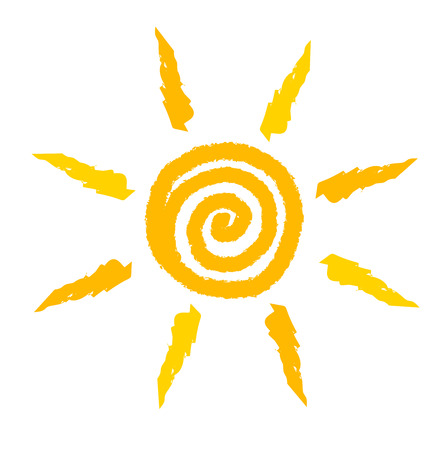 cartoon sun: Sun icon painted .  Illustration