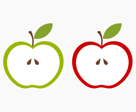 half apple: Two halves of apple, green and red. Vector illustration Illustration