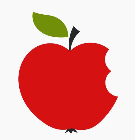 bite apple: Bitten red apple icon. Vector illustration Illustration