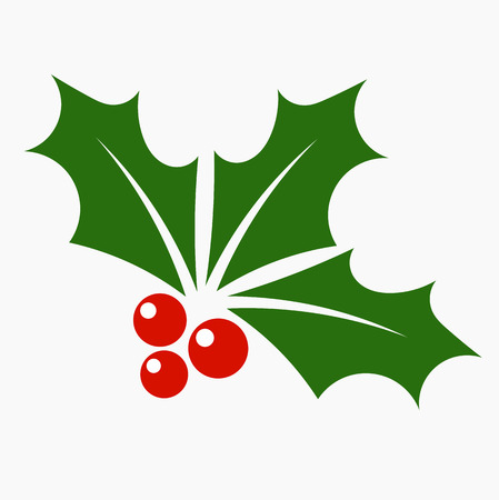three leaves: Holly berry icon. Christmas symbol vector illustration Illustration