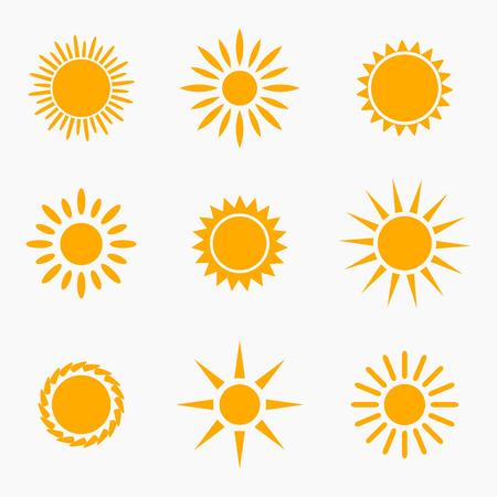 słońce: Ikony lub symbole słońca kolekcji. Ilustracji wektorowych