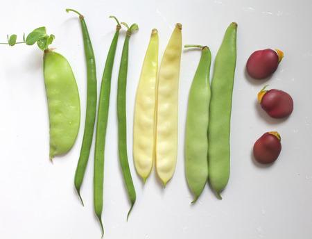 leguminosas: Variedad de legumbres: judías verdes y amarillos, guisantes, habas Foto de archivo