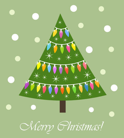 green light bulb: Colorful Christmas tree with lights card. Vector illustration