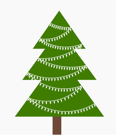 Christmas tree with white lights. Vector illustration Vector
