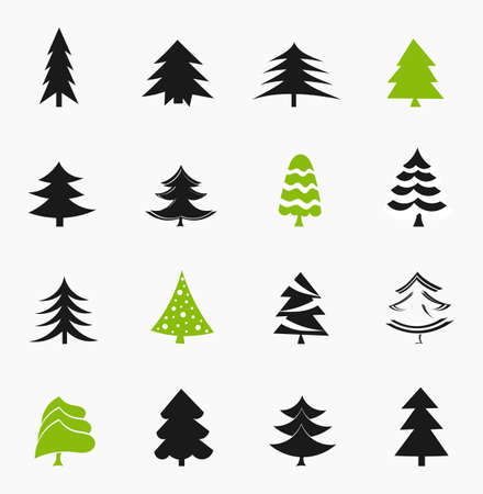 Christmas trees icons collection. Vector illustration Vector