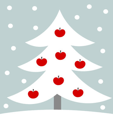 White Christmas tree with red apples vector