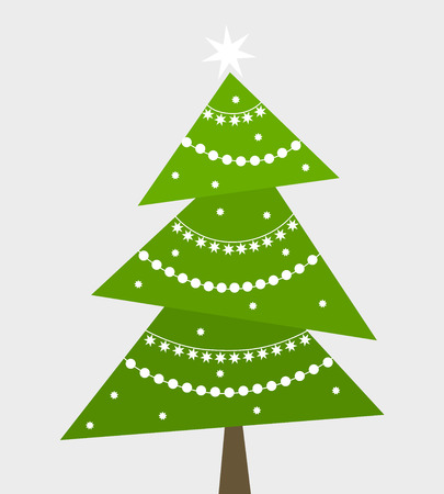 Christmas tree with white ornaments. Vector illustration Vector