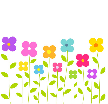 daisy vector: Cute colorful flowers growing. Summer vector illustration Illustration