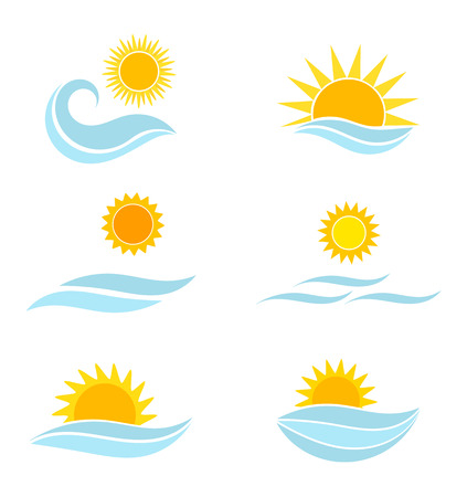 blue wave: Sun and sea icons. Summer vector illustration
