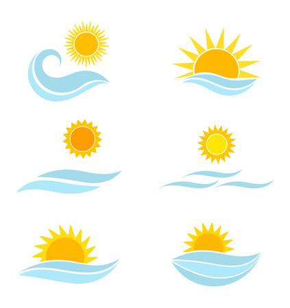 Sunset landscape vector: Sun và các biểu tượng nước biển. Summer minh hoạ vector