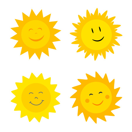 Smiling suns collection. Vector illustration