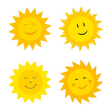 słońce: Uśmiechnięty kolekcji Słońca. Ilustracji wektorowych