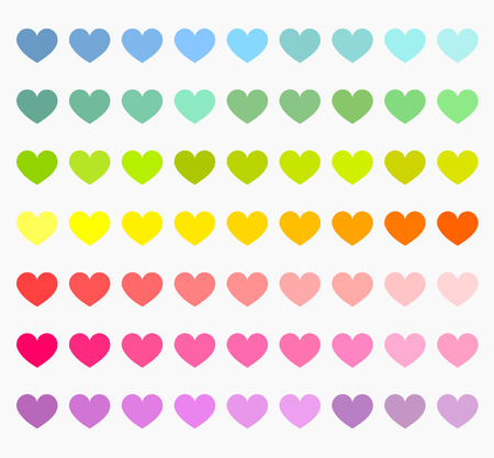 raibow: Colorful hearts collection. Rainbow colors vector illustration
